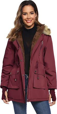 Grace Karin Basic Womens Solid Plain Warm Thicken with Faux Fur Hood Jacket Zip-up Padded Coat Wine XL