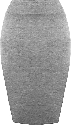 The Celebrity Fashion Womens Plain Jersey Bodycon Pencil High Waisted Ladies Stretch Tube Midi Skirt