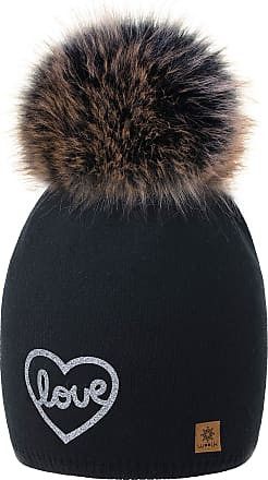4sold Love Womens Girls Winter Hat Wool Knitted Beanie with Large Pom Pom Cap Ski Snowboard Bobble Colour Black Silver Fleece Lining
