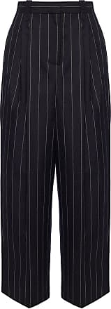Loewe Striped Wool Trousers Womens Navy Blue