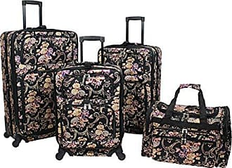 World Traveler 4-Piece Rolling Expandable Spinner Luggage Set-Classic Floral