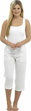 Tom Franks Ladies Linen Viscose Cotton Summer 3/4 Three Quarter Length Neutral Cropped Trousers Bottoms Pants Tie Waist