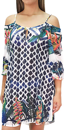 101 Resort Wear Vestido Saída de Praia Meia Manga 101 Resort Wear Crepe Estampada Branca