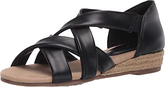 Easy Street Womens Espadrille Wedge Sandal, Black, 7.5 us x_Wide
