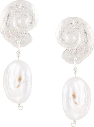 Natalie Perry Jewellery Par de brincos Ammonite com detalhe de pingente - Prateado