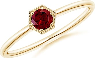 Angara Valentine Day Sale - Pave Set Garnet Hexagon Solitaire Ring with Milgrain