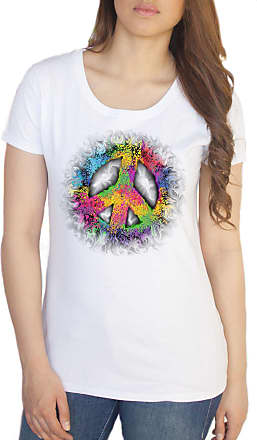Irony Womens White T-Shirt Peace CND Paintbrush Splatter Effect- Colourful Print TS632 (Large)