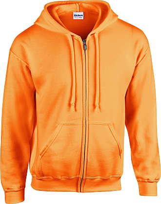 Gildan Mens Heavy Blend Zipped Hooded Sweatshirt Safety Orange XXL