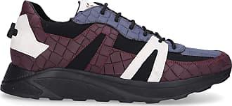 Hide & Jack Low-Top Sneakers RUNNING JET calfskin Embossing Logo blue bordeaux