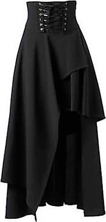 Hellomiko Womens Gothic Lolita Band Waist Skirt Asymmetrical Steampunk Vintage Skirt Black
