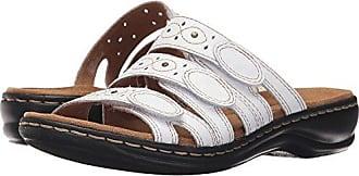 c7fa0b53e Clarks Womens Leisa Cacti Slide Sandal White Leather 6.5 W US