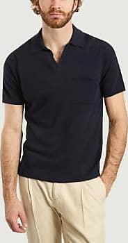 Nn.07 Marineblaues Polo-Shirt aus Baumwolle und Leinen - medium
