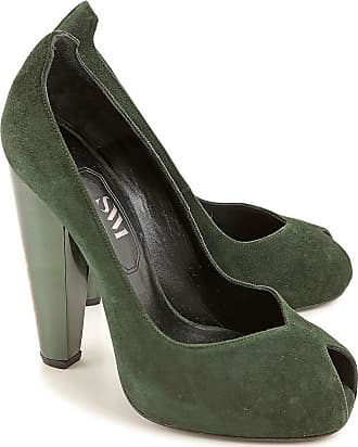 Stuart Weitzman Peep Toe Open Shoes & Heels On Sale in Outlet, Green, Suede leather, 2017, 8