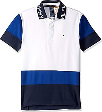Tommy Hilfiger Mens Adaptive Polo Shirt with Magnetic Buttons Custom Fit, White/Blue/Multi, Medium