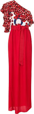 Isolda Vestido Abalonê de seda um ombro só - Vermelho