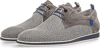 Floris Van Bommel Grauer Wildleder-Schnürschuh mit Print, Business Schuhe, Handgefertigt