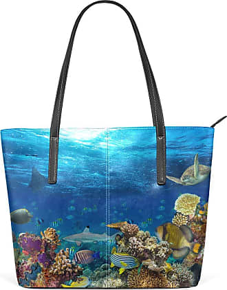 NaiiaN Happy for Women Girls Ladies Student Light Weight Strap Purse Shopping Tote Bag Shoulder Bags Leather Sea Ocean Underwater World Animal Fish Handbags