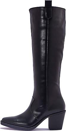 Truffle Womens Black Faux Leather Western Knee High Block Heel Boots UK Size 3