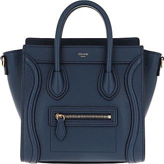 Celine Nano Luggage Bag Leather Dark Blue Umhängetasche blau