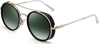 JIM HALO Retro Round Steampunk Sunglasses for Women Men Circel Lens Metal Frame (Coffee Frame/Gradient Green Lens)