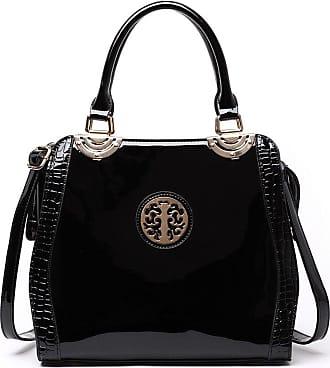 LeahWard Womens Fashion Tote Bags Quality Faux Leather Shoulder Bag Handbags For Women CW50 (Black patent bag)