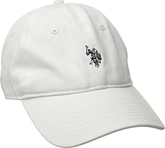 U.S.Polo Association Mens Small Solid Horse Adjustable Cap, White, One Size