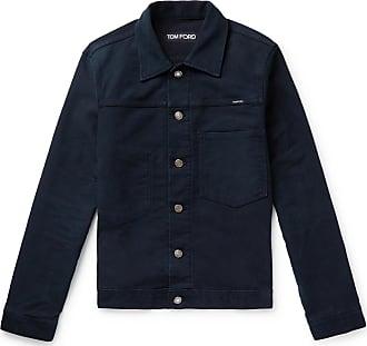 Tom Ford Brushed-denim Trucker Jacket - Navy