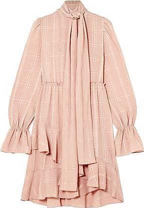 See By Chloé See By Chloé Woman Tie-neck Asymmetric Plissé-crepe Dress Blush Size 40