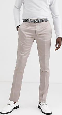 Twisted Tailor Pantaloni da abito skinny in rasatello champagne-Crema