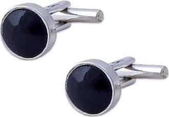 Novica Obsidian cufflinks, Dark Circles