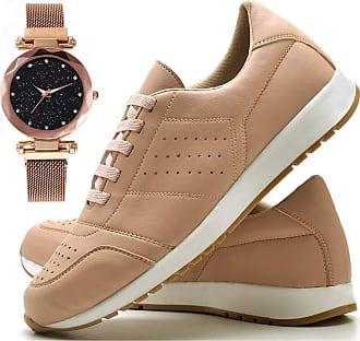 Juilli Tênis Sapato Casual Com Relógio Pulseira fechamento magnético Feminino JUILLI 1102DB Tamanho:41;cor:Rosa;gênero:Feminino