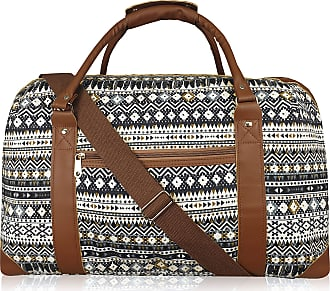 Quenchy London Canvas Travel Holdalls - Weekend Overnight Bags - Medium Size Holiday Duffle Bag - Ideal Womens Ladies Gym Holdall - Hand Luggage Cabin Baggage 50cm x