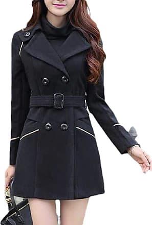 H&E Women Winter Warm Woollen Blend Double Breasted Pea Coat with Belt Black M