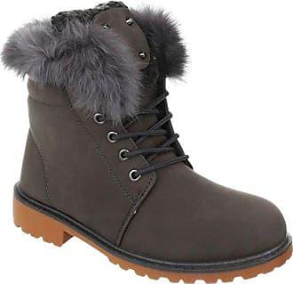 9e27d21281a20d King Of Shoes Damen Stiefeletten Worker Schnür Ankle Boots Trekking Outdoor  Knöchelhohe Stiefel Schuhe Kurzschaft Warm