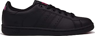 Lonsdale Womens Leyton Trainers Court Lace Up Leather Upper Stitched Detailing Black/Cerise UK 6.5 (39.5)
