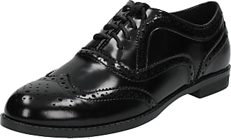 Spot On Ladies Casual Brogue Style Shoes - Black Synthetic Patent - UK Size 6 - EU Size 39 - US Size 8