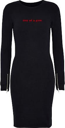 Zoe Karssen Zoe Karssen Woman Flocked Cotton-blend Terry Mini Dress Black Size L