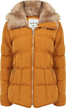 Tokyo Laundry Womens Bertie Hooded Quilted Jacket with Detachable Faux Fur Trim - Mustard - 14