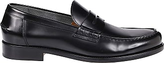 Doucal's Black Leather Loafers, 43.5