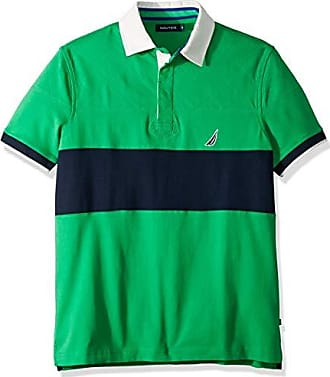 Nautica Mens Short Sleeve Colorblock Classic Fit Polo Shirt, Bright Green X-Large