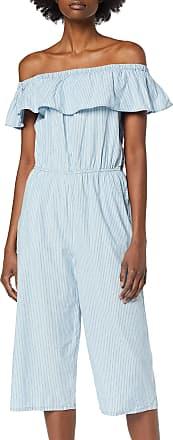 Vero Moda Womens VMEMILIA Ruffle Drop Chambray Jumpsuit, Multicolour (Light Blue Denim Stripes:White), 14 (Size: L)