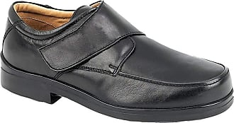 Roamers Mens XXX Extra Wide Shoes Soft Black Leather Lightweight Touch Fastening (Numeric_14)