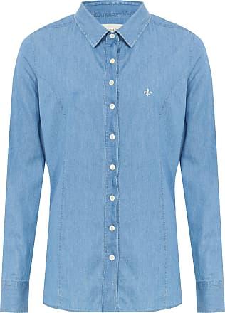 Dudalina Camisa Slim Manga Longa Jeans - Azul