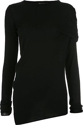 Uma Blusa de tricô assimétrica - Preto