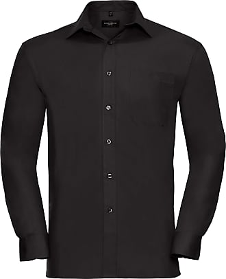 Russell Athletic Russell Mens Long Sleeve Pure Cotton Work Shirt (2XL) (Black)