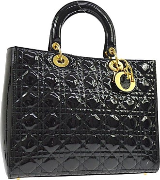 Dior Dior Black Patent Leather Quilted Gold Charm Large Top Handle Satchel Tote  Bag ca589e7860fc2