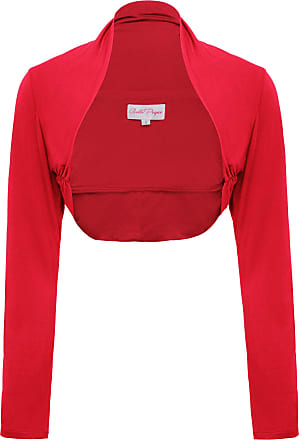 Belle Poque Casual Versatile Open Front Bolero Shrug for Women L Red