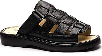 Doctor Shoes Antistaffa Chinelo Masculino 323 em Couro Floater Preto Doctor Shoes-Preto-43