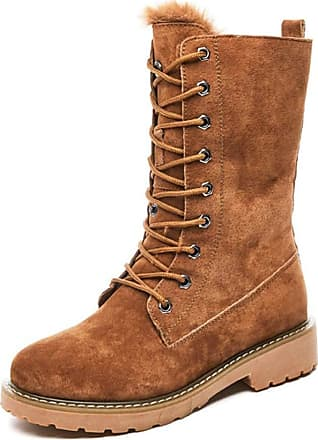 NOADream Women Low Heel Martin Boots Leather Combat Biker Boots Stylish Plush Warm Lace-Up Trekking Hiking Mid-Calf Snow Boot Brown