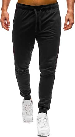 TOMWELL Mens Zip Jogger Trousers - Casual Gym Fitness Tracksuit Bottoms Slim Fit Chinos Sweat Pants Black X-Small